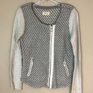 Lou & Grey M Ivory Gray Knit Sweater Jacket Zip
